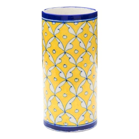 Handmade Yellow & Blue Pottery Vase (India)