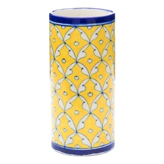 Handcrafted Blue Pottery Vase - Yellow & Blue (India)