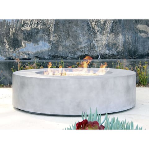 Living Source International Santiago Cast Concrete 42-inch Round Firepit Table
