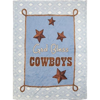 Manual Woodworkers God Bless Cowboys Blue Coral Fleece Throw