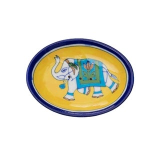Handmade Yellow Pottery Elephant Soap Dish (India)