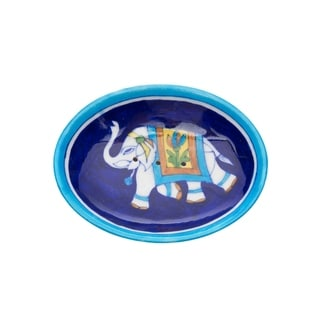 Handcrafted Blue Pottery Elephant Soap Dish - Indigo (India)