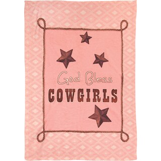 Manual Woodworkers God Bless Cowgirls Pink Coral Fleece Throw