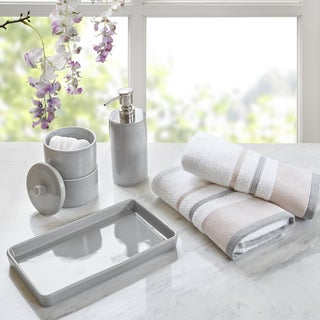 Urban Habitat Peyton Grey 5 Piece Bath Accessory and Hand Towel Set