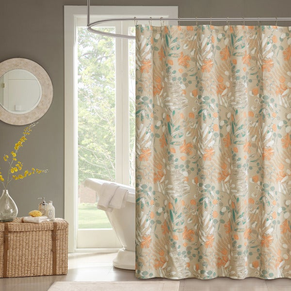 Shop Madison Park Robin Spice Cotton Sateen Printed Shower Curtain