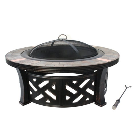 Jeco Bronze-colored Steel 40-inch Ornate Slate Top Fire Pit