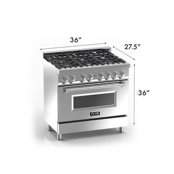 zline 36 in 46 cu ft 6 gas oven range in stainless steel e3660 free shipping today