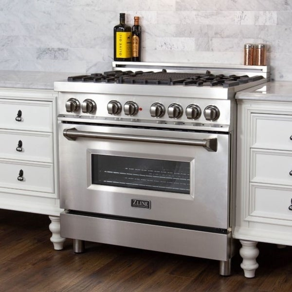 ft ZLINE 36 in RA36 Professional 4.6 cu 6 Gas Burner//Electric Oven Range in Stainless Steel