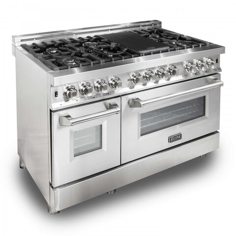 ZLINE 48 in. 6 cu. ft. 7 Gas Burner/Electric Oven Range in Stainless Steel (RA48)