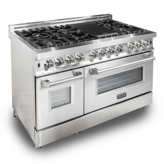 ZLINE 48 in. 6 cu. ft.7 Gas Burner/Electric Oven Range in Stainless Steel (RA48)