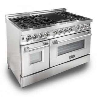 ZLINE 48 in. 6 cu. ft. 7 Gas Burner/Electric Oven Range in Stainless Steel (RA48)
