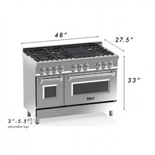 ZLINE 48 in. 6 cu. ft.8 Gas Burner/Electric Oven Range in Stainless Steel (RA48)