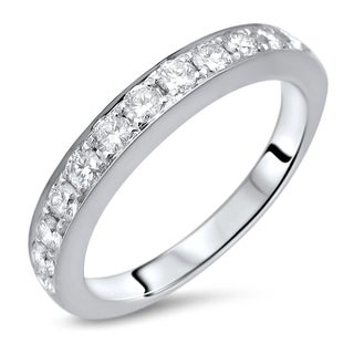 Ladies 1/2ct Round Diamond Wedding Band Anniversary Ring 18k White Gold