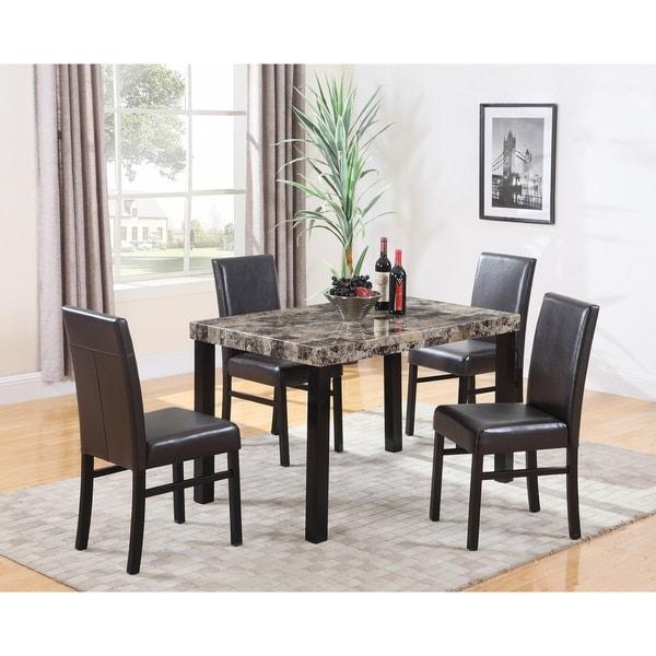 Modern Retro 5 Piece Dinette Set With Faux Leather Black: Shop Best Master Furniture CD037 5 Piece Dinette Set