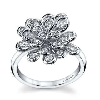 Lihara and Co. 18k White Gold 0.90ct TDW Diamond Cluster Fashion Ring (G-H, VS1-VS2)