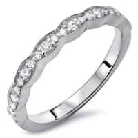 Ladies 1/5ct Round Diamond Scalloped Wedding Band Anniversary Ring 14k White Gold