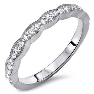 Ladies 1/5ct Round Diamond Scalloped Wedding Band Anniversary Ring 14k White Gold