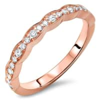 Ladies 1/5ct Round Diamond Scalloped Wedding Band Anniversary Ring 14k Rose Gold