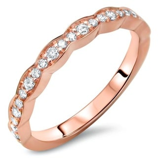 Ladies 1/5ct Round Diamond Scalloped Wedding Band Anniversary Ring 14k Rose Gold