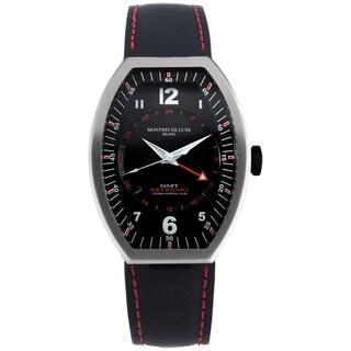 Montres De Luxe Men's Quartz Black Leather Strap Watch