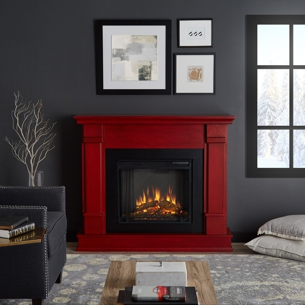 Real Flame Silverton Rustic Red Wood Electric Fireplace Free Shipping Today