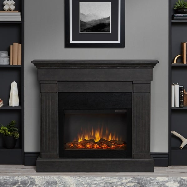 Crawford Electric Grey Fireplace by Real Flame - 47.4L x 9.5W x 41.9H