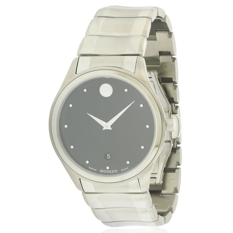 Movado Celo Stainless Steel Mens Watch 0606839, Black, Si...
