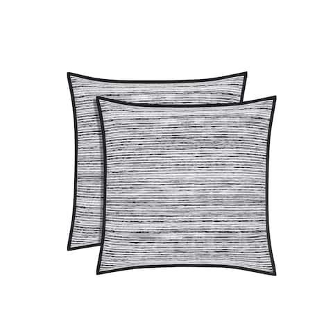Five Queens Court Felix Twill Cotton Euro Pillow Sham - White/Black