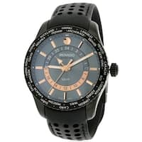 Movado Series 800 Black PVD Leather Mens Watch 2600118