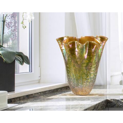 "Springdale 11.75""H Prismatic Hand Blown Art Glass Vase"