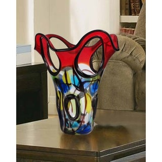 "Springdale 11.75""H Tank Top Hand Blown Art Glass Vase"