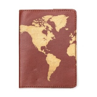 Handcrafted Globetrotter Leather Passport Cover - Brown (India)