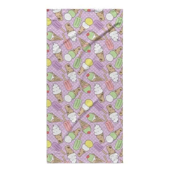Kavka Designs Purple/Green/Pink Ice Cream Beach Towel