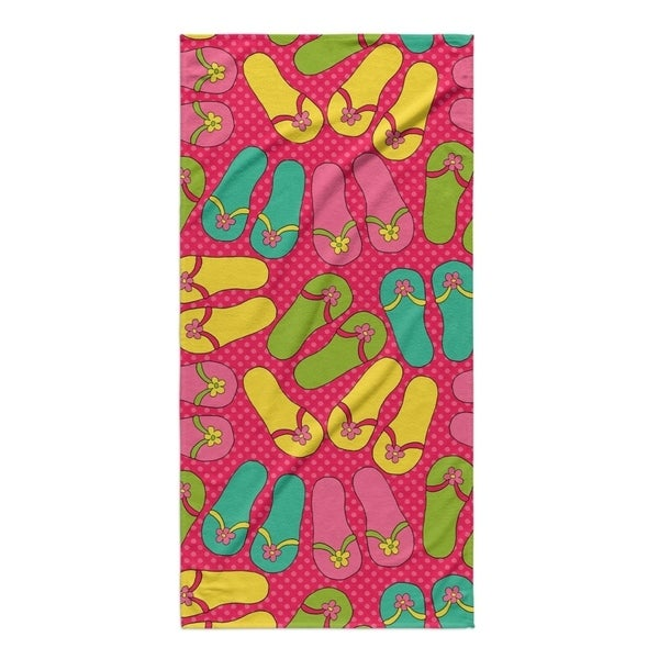 Kavka Designs Pink/Yellow/Blue/Green Sandles Beach Towel