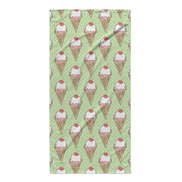 Kavka Designs Green Ice Cream Beach Towel