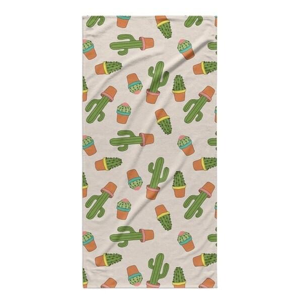 Kavka Designs Green/Pink/Ivory Cactus Beach Towel
