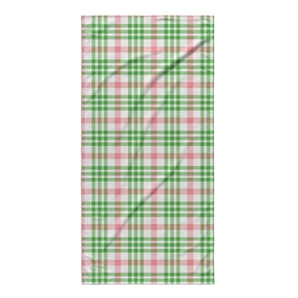 Kavka Designs Red/Green Candy Cane Plaid Beach Towel