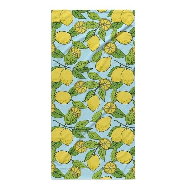 Kavka Designs Blue/Yellow Lemons Beach Towel