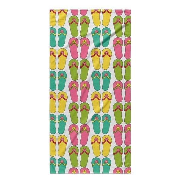 Kavka Designs Pink/Blue/Green/Yellow Sandles Beach Towel