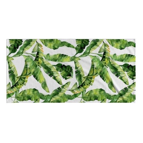 Kavka Designs Green/White Banana Leaf Beach Towel