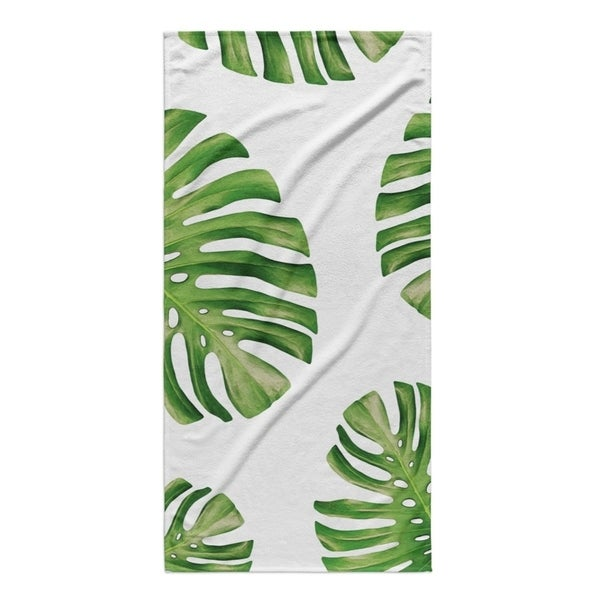 Kavka Designs Green/White Side Palms Beach Towel