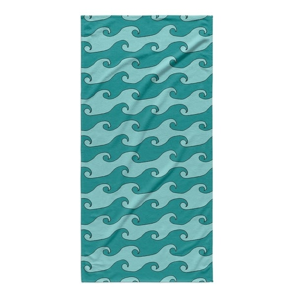Kavka Designs Turquoise/Teal Waves Beach Towel