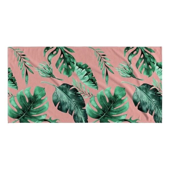 Kavka Designs Pink/Green Pink Palms Beach Towel