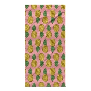 Kavka Designs Pink/Yellow Pineapple Beach Towel