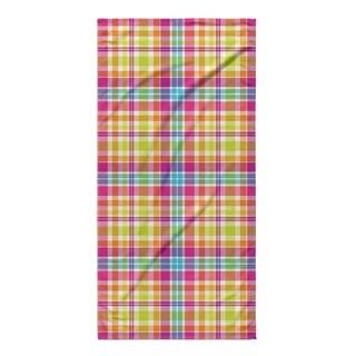 Kavka Designs Pink/Purple/Yellow/Blue Tropical Plaid Beach Towel