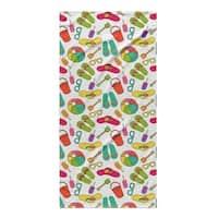 Kavka Designs Yellow/Pink/Blue/Green To The Beach Beach Towel