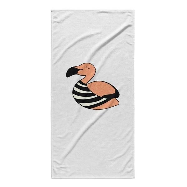 Kavka Designs Orange/black/White Flamingo Beach Towel