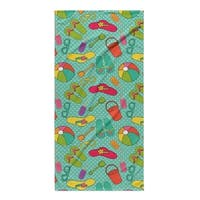 Kavka Designs Blue/Pink/Green To The Beach Beach Towel