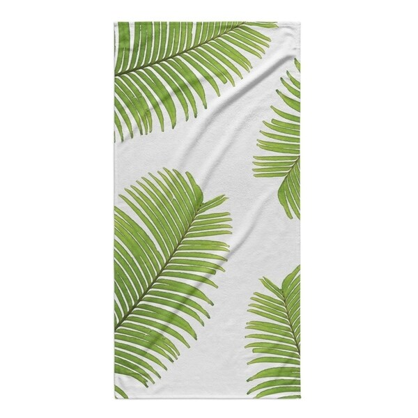 Kavka Designs Green/White Palm Breeze Beach Towel