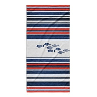 Kavka Designs Blue/Red Blue Fish Beach Towel
